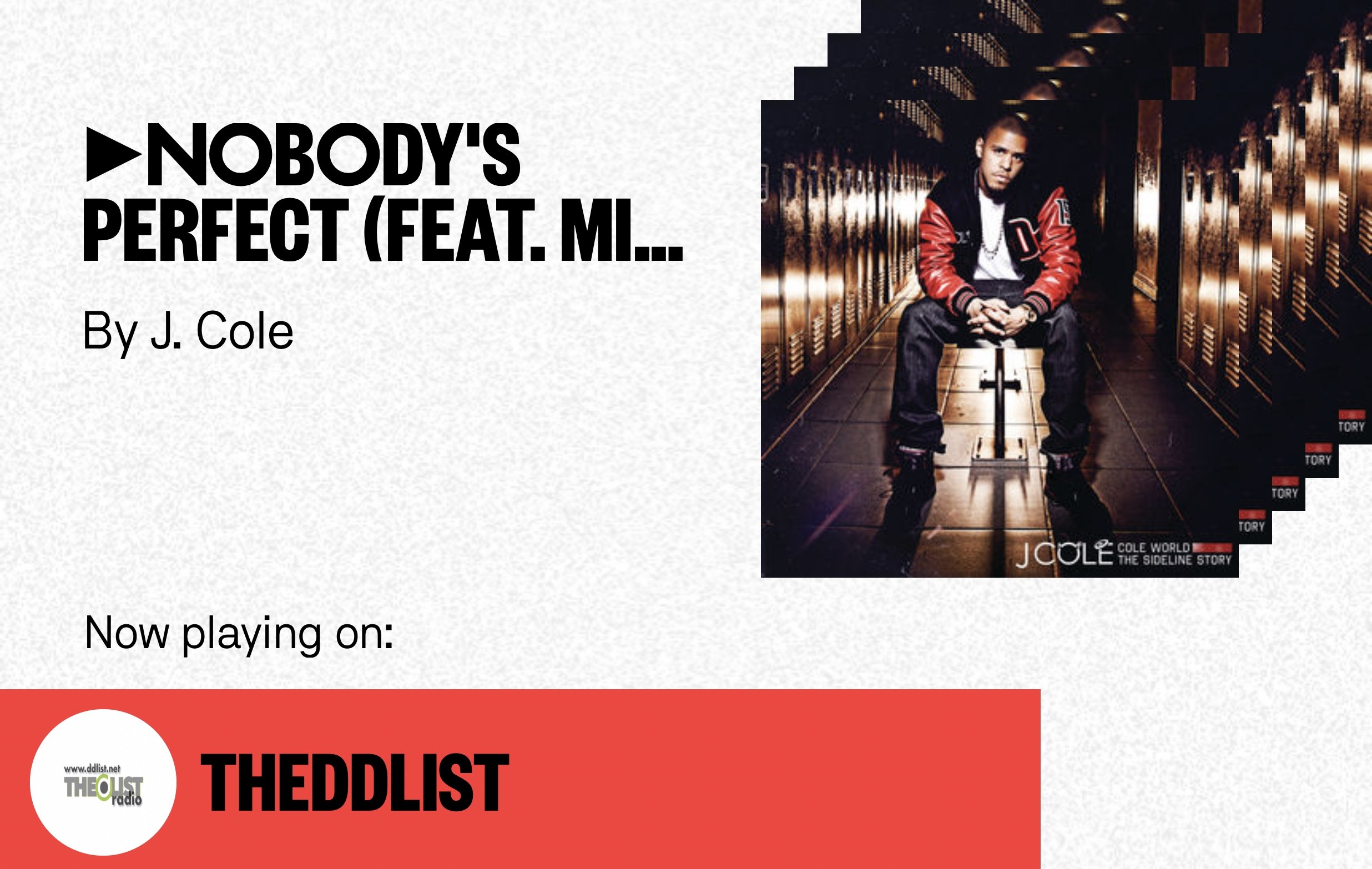 I'm listening to Nobody's Perfect (feat. Missy Elliott) by J. Cole on THEDDLIST. Join me on Stationhead.